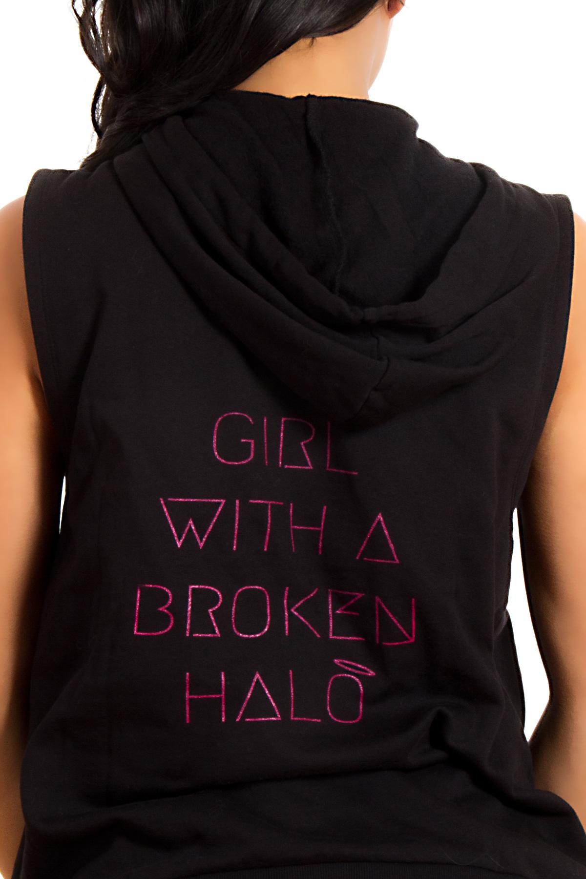 Hyori Girl With A Broken Halo Hoody Kapuzenpulli Ärmellos in Schwarz für Frauen