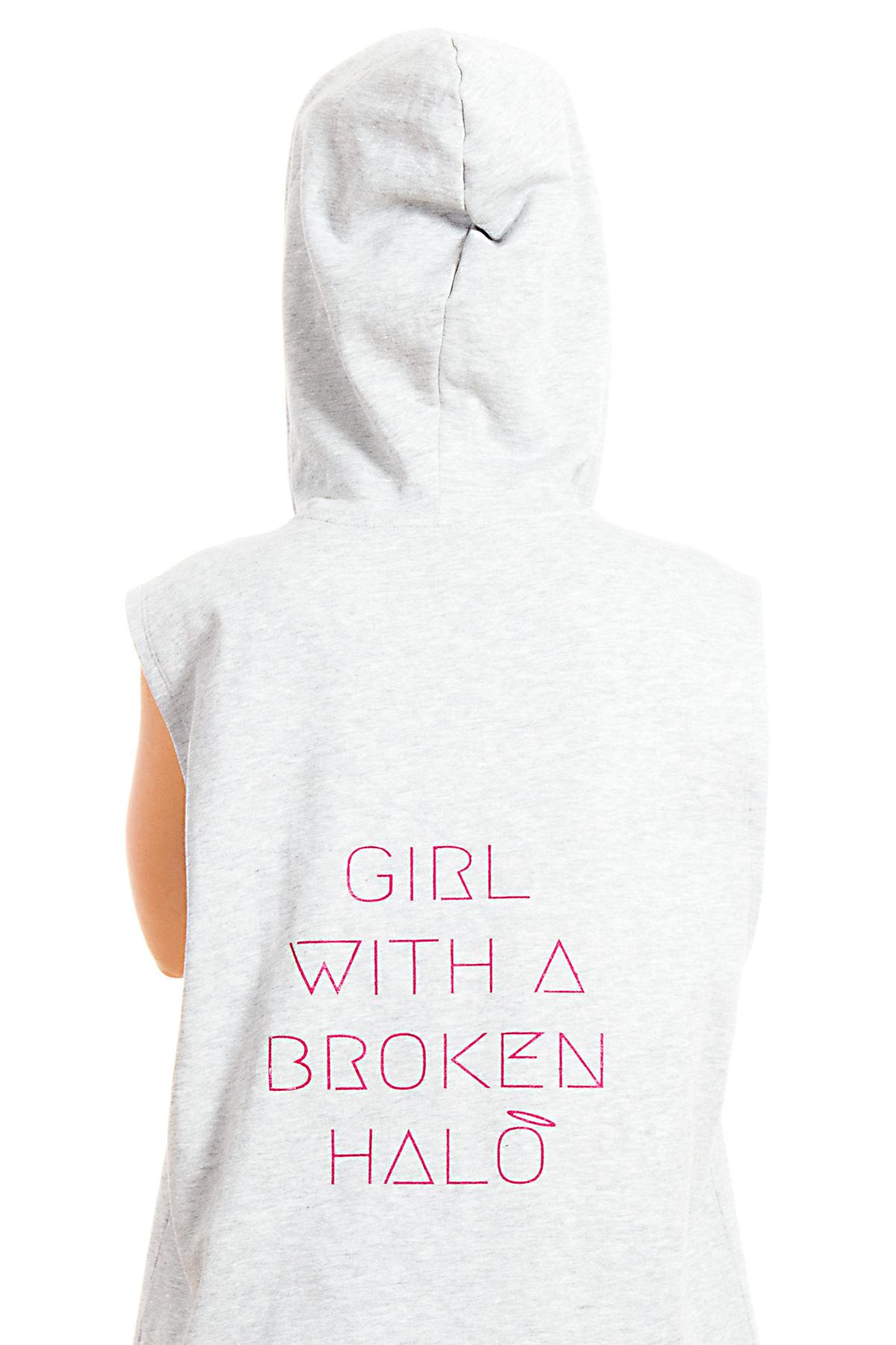 Hyori Girl With A Broken Halo Hoody Kapuzenpulli Ärmellos in Schwarz für Damen