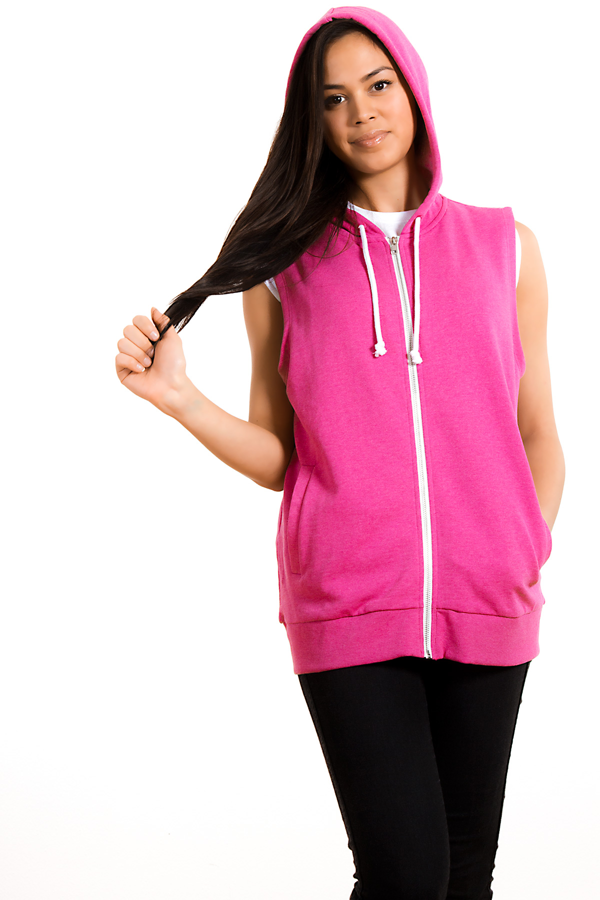 Hyori I Woke Up Like This Sleeveless Hoody Kapuzenpulli in Pink for Women