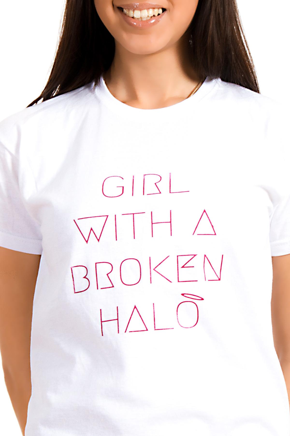 Hyori Girl With A Broken Halo T-Shirt in Weiß für Frauen