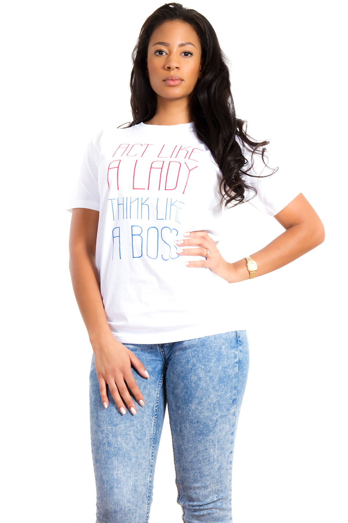 Hyori Act Like A Lady Think Like A Boss T-Shirt in White for Women