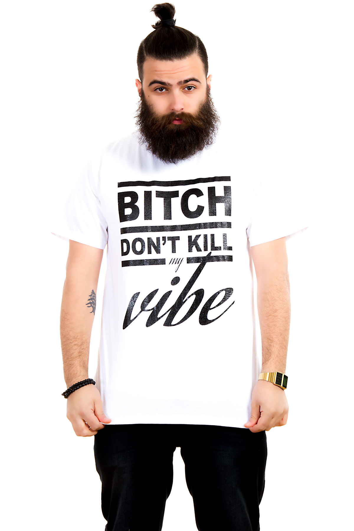 Hyori Bitch Don't Kill My Vibe T-Shirt in White for Men