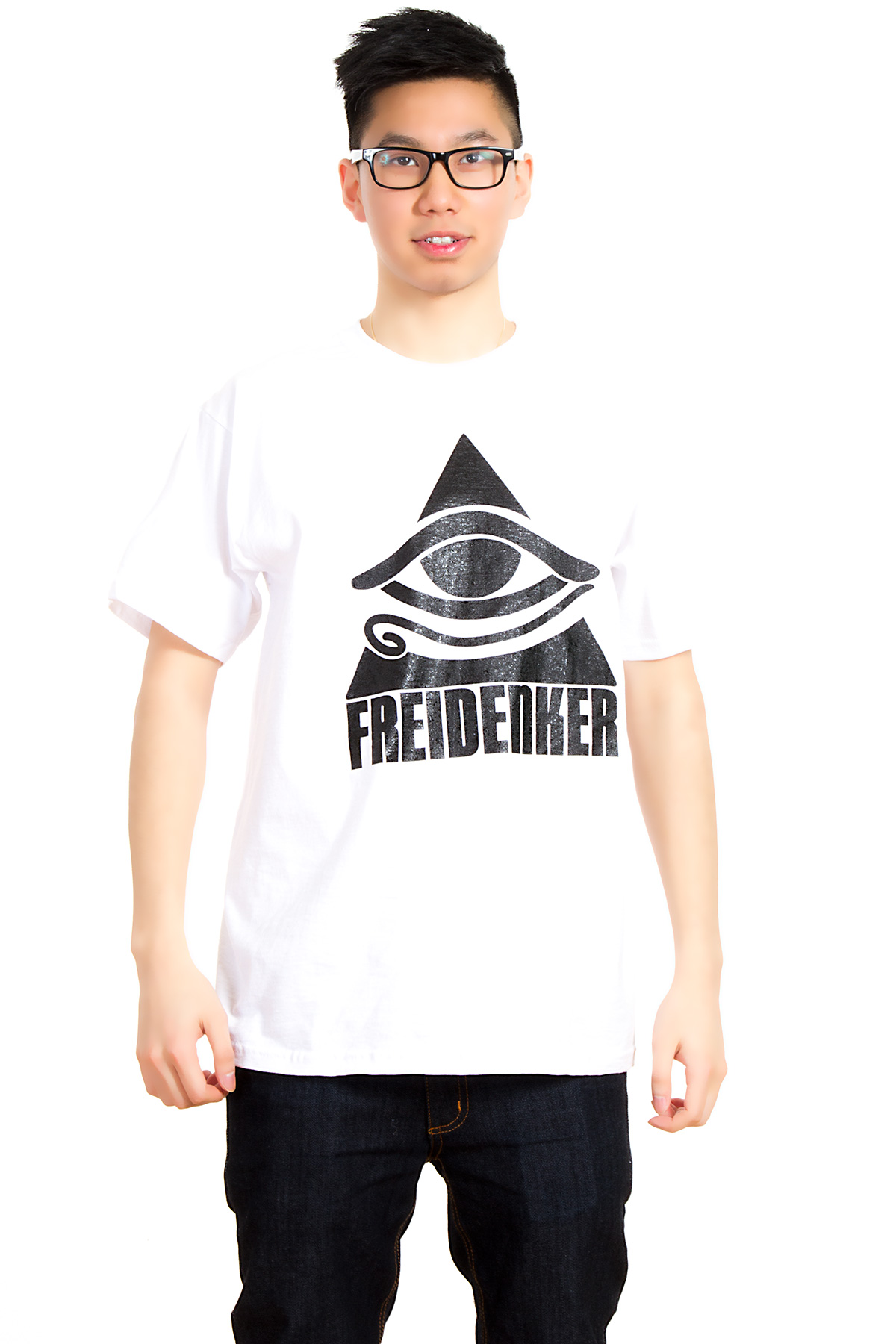 Hyori Freidenker für Zivilcourage kein Illuminati Horus Eye T-Shirt in White for Men