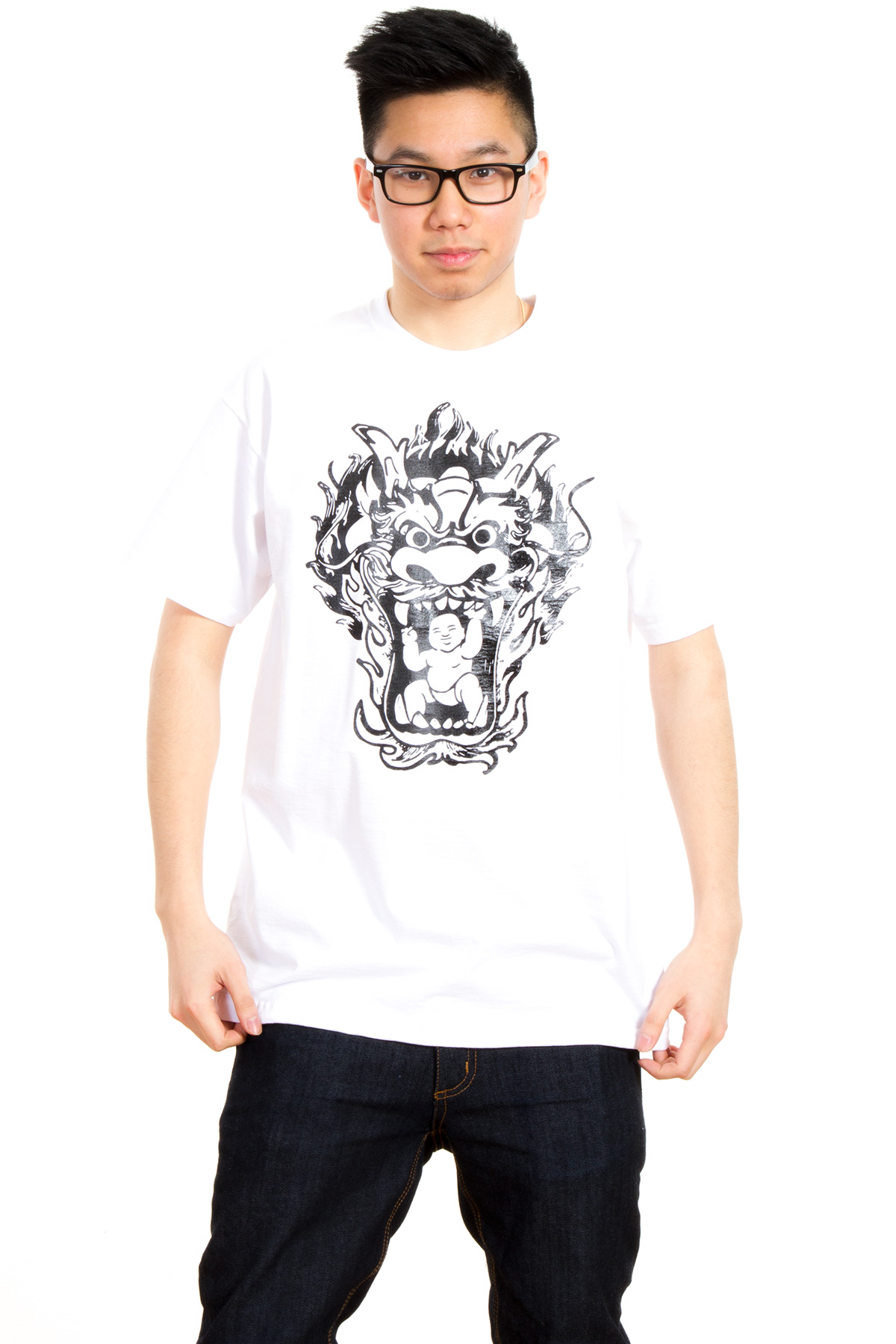 Oatdaheo Baby Monk Dragon Head Classic T-Shirt in White for Men