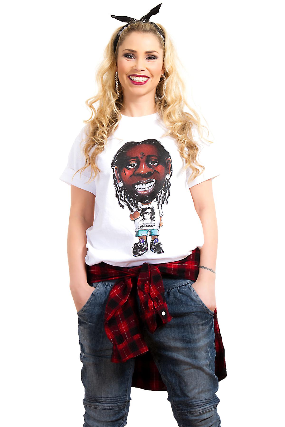 I Am Jonny Weezy Caricature Fan T-Shirt in White by Oatdaheo