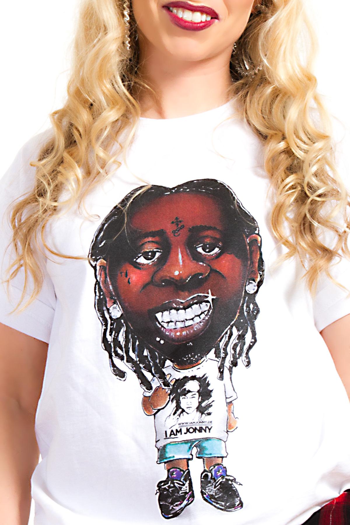 I Am Jonny Weezy Caricature Fan T-Shirt in White für Damen