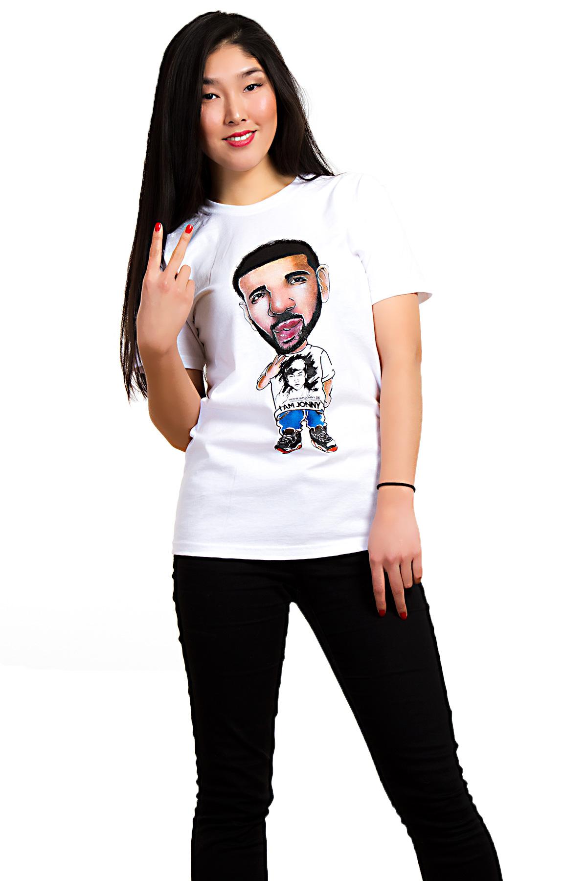 I Am Jonny Drizzy Caricature Fan T-Shirt in White by Oatdaheo