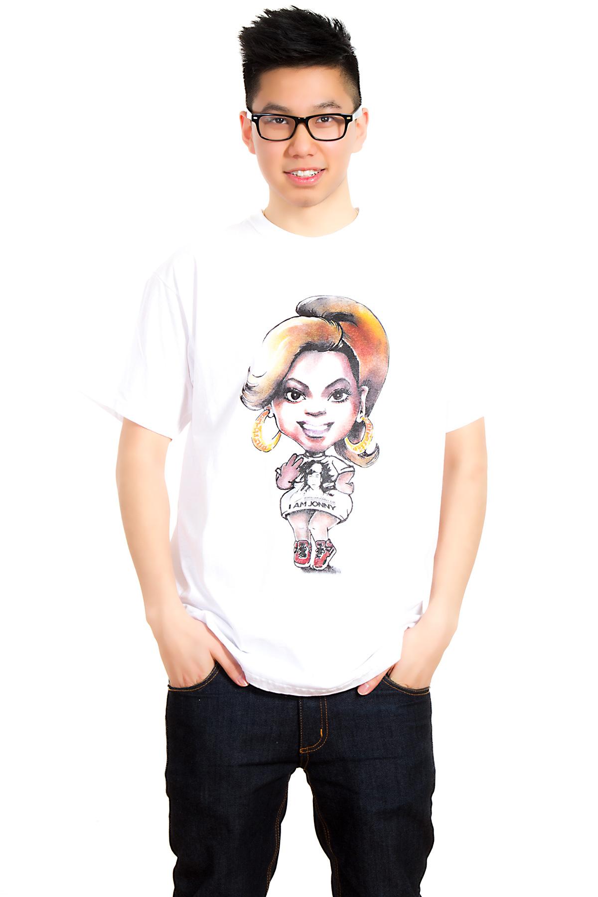 I Am Jonny Bee Caricature Fan T-Shirt in White by Oatdaheo